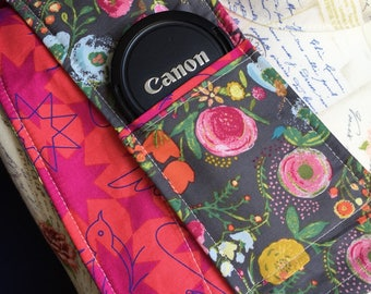 Camera Strap Cover with Lens Pocket Ready to Ship Canon Nikon DSLR Photographer Photography #307 Floral Grey Roses Birds Bees Nature Pink