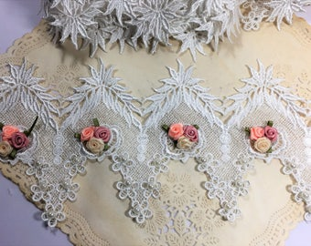 Embroidered Lace Flower and Pearl Trim