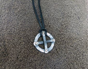 Hand forged sun cross necklace, with high quality leather string.