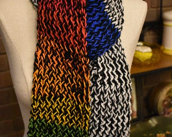 Hand Knit 'Black, White and Color TV' Serenity Scarf