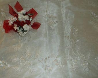 Ivory Beaded Scalloped Flower Organza