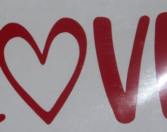 Love Vinyl Decal with Heart Valentine's Day