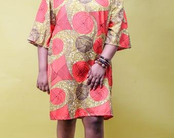 DeBokis Collection, Plus Size, Elegant, Ankara African Women's t Dress/Elastic Neck