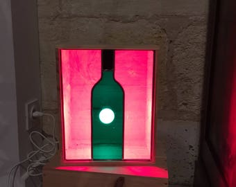 Stained glass leaded lamp and recycled wine crate