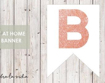 DIY Banner - 'B'. Instant Download. Printable Banner Letters. Pink Glitter. - 01