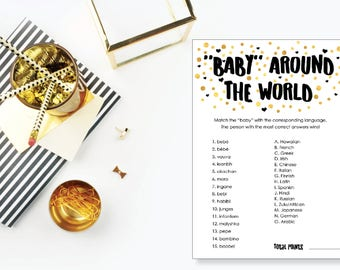Baby Around the World. Baby Shower Game. Instant Download. Printable Baby Shower Gender Neutral Game. Gold and Black.