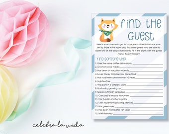 Instant Download Find the Guest Baby Shower Game. Printable Baby Shower Baby Boy Game. Blue