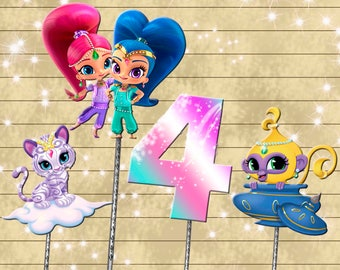Shimmer and Shine centerpiece - cake topper double sided birthday decoration - digital download YOU PRINT