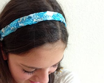 Braided Headband- Blue, batik, women, running, yoga, exercise headbands, gifts for her, womens, gifts under 20, hair accessories, hair care