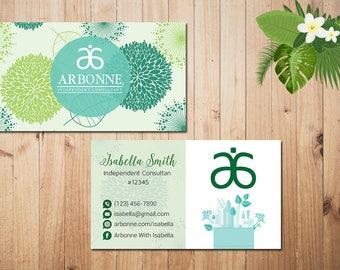 PERSONALIZED Arbonne Business Cards, Custom Arbonne Business, Green Arbonne Business Card, Custom Business Card, Printable Card AR03