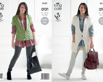 Ladies Waistcoats Knitting Pattern - King Cole Aran Knitting Pattern 4141