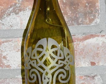 Celtic Knot Oak Tree ~ Sand-etched Green Wine Bottle Lantern