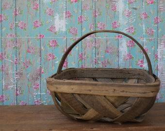 Vintage Criss Cross Tobacco Basket Handle Square Gathering Weave