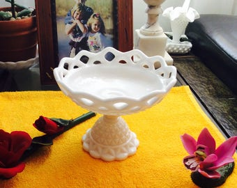 Vintage Imperial Milk Glass Compote Diamond Point Lace Edge Footed Pedestal.  1970's