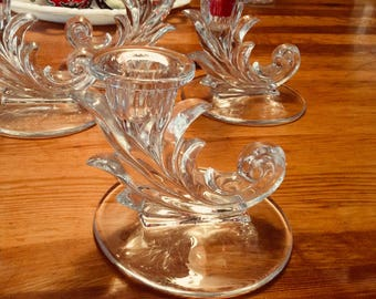 Set of Four Fostoria Baroque Candlestick Single Light Candle Holder Clear Glass Perfect Wedding candlestick for a guest table