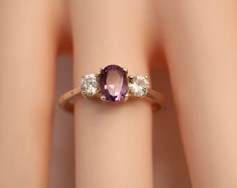 Silver Tone 5mm Oval Cut Purple Amethyst & Rhinestone Ring Size 8