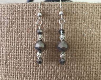 Gray faceted glass and silver filigree bead earrings