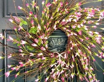 Pink Spiral Sunburst Twig Wreath