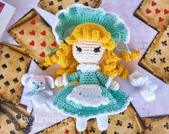 Alice in Wonderland crochet doll, plush Alice doll, Alice with white rabbit toy, Alice in Wonderland party decoration
