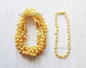 Wholesale teething necklaces 5 pieces. Amber necklaces for babies or kids. Polished amber. Necklaces with certificates, Custom length. MH4