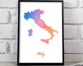 Italy print Italy poster Italy art Watercolor Italy Map poster  wall art Italy wall decor Gift poster