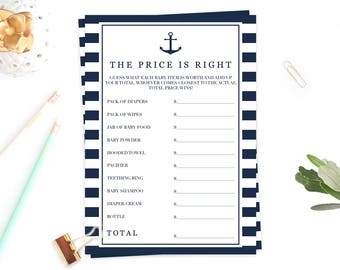 Price is Right Baby Shower Game Navy Nautical Baby Shower Printable Price is Right Baby Game Modern Baby Shower Activities Baby Shower NS1