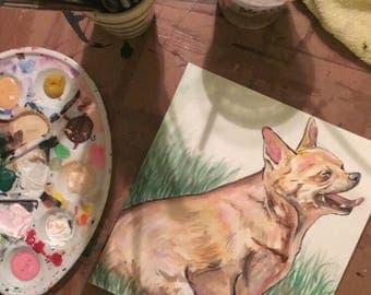 Custom pet portraits watercolor and acrylic handmade