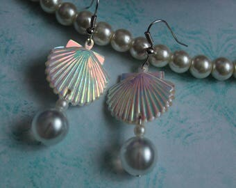 iridescent mermaid shell earrings