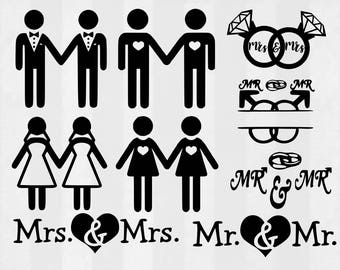 Love is love SVG Bundle, gay marriage clipart, gay cut files, gay svg files for silhouette, files for cricut, svg, dxf, eps, cuttable design