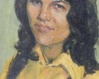 "Vintage PORTRAIT ORIGINAL Oil Painting by Chebotaru Nilolai 1975 ""Nina""Female portrait Ukrainian Art"