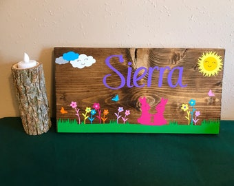 Girls name custom plaque with bunnies
