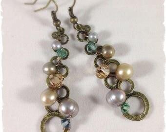 Swarovski, Freshwater Pearls & Bronze Earrings