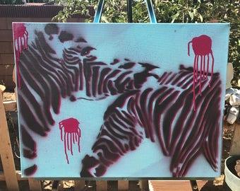 Zebra, love, stencil art, spray paint