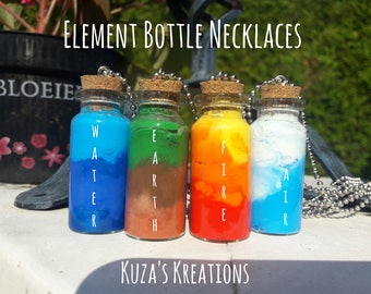 Element Bottle Necklace Handmade   Fire   Air   Earth   Water
