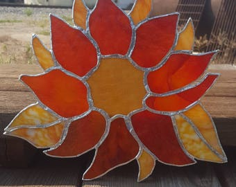 sunflower burst- stained glass