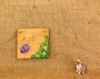 """Rustic home decor handmade, chalk animal farm on wooden board 4"""", living room ornaments for sale, mom and best friend, tiny purple ladybug."""