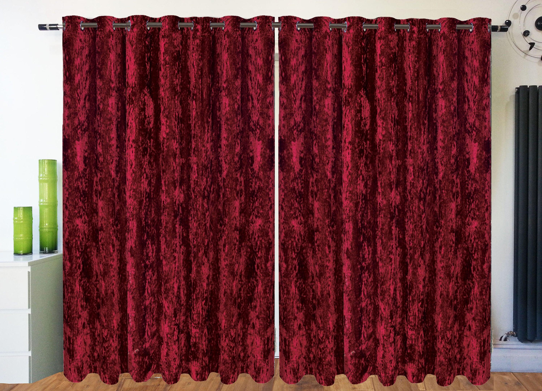 crushed velvet curtains eyelet ring top fully lined designer