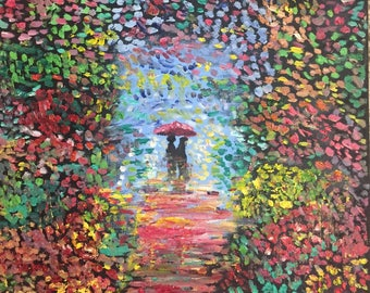 "Original Handmade Oil Canvas Painting of Romance on the walk - 12"" x 12"""