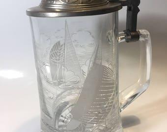 Vintage ALWE glass beer stein, SAIL BOAT race