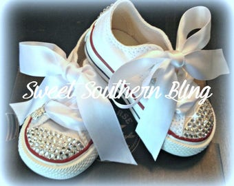 White BLING Converse Shoes