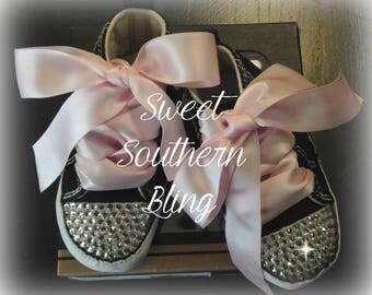 Black & Pink Baby Bling Converse Crib Shoes