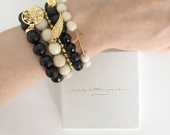 Set of 5 Gold Plated Silver Gemstone Bracelets