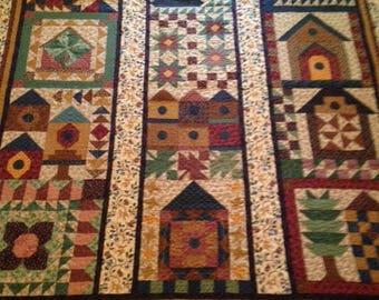 """New handmade, full/queen, """"Birdhouses"""" quilt; 86"""" x 91"""""""