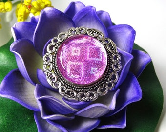 Handmade retro round silver rose brooch
