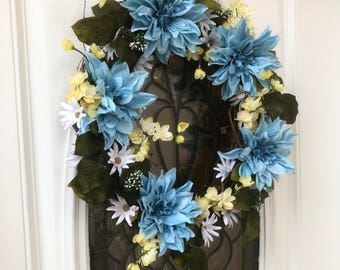 Spring wreath, summer wreath, wreath for door, front door wreath, daisy wreath, wreath
