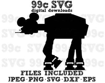 Mickey ATAT Walker Star Wars SVG DXF Png Vector Cut File Cricut Design Silhouette Cameo Vinyl Decal Party Stencil Heat Transfer Iron