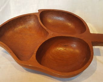 Vintage Wood Leaf Handmade Monkeypod Serving Tray Snack Dish