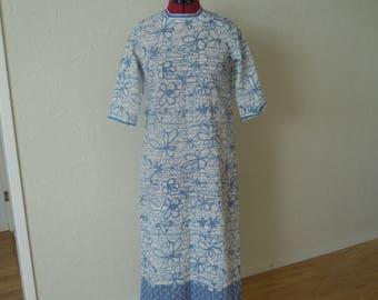 Floral patterned dress Summer dress Long dress Cream white and blue dress