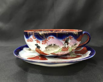 Antique Vintage Chinese Tea Cup and Saucer Cobalt Blue Geisha Girl Gold Accents