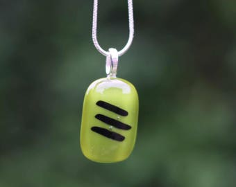 Glass fused pendant - green with black stripes